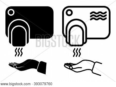 Touch Less Hand Dryer. Wash Hands Safety Concept. Automatic Machine With Sensor. Wall Mounted Hand D