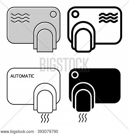 Touch Less Hand Dryer. Wash Hands Safety Concept. Automatic Machine With Sensor. Set Of Wall Mounted