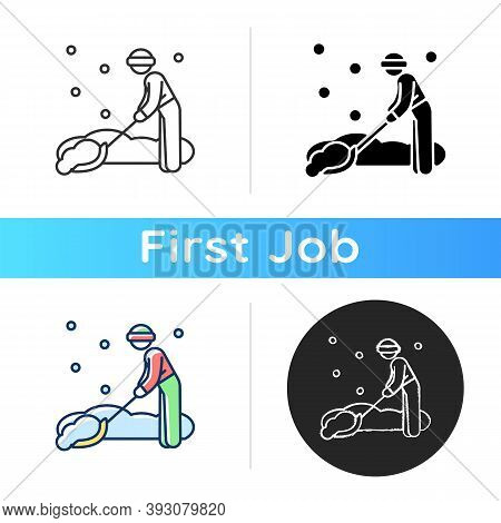 Snow Removal Job Icon. Snow Plow Operator. Clearing Residential Streets Or Trails. Snowfall. Seasona