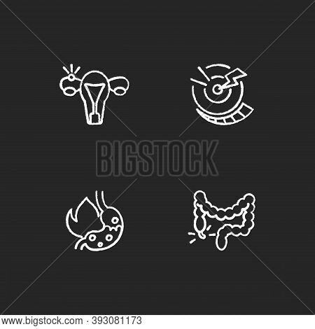 Abdominal Inflammation Chalk White Icons Set On Black Background. Ectopic Pregnancy. Acute Pain. Hea