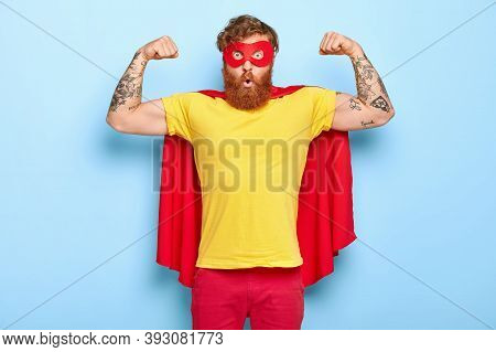 Emotive Surprised Male Hero Has Noble Qualities, Demonstrates Strength With Raised Arms, Has Strong