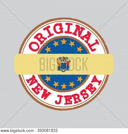 Vector Stamp Of Original Logo And Tying In The Middle With New Jersey Flag, The States Of America. G
