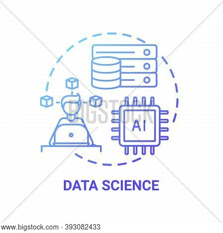 Data Science Concept Icon. Top Careers In It For Creative Thinkers. Working With Big Data. Future So