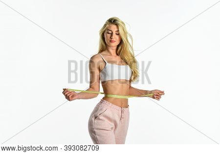 Challenging Herself. Concept Of Dieting. Healthy Lifestyle. Athletic Woman Isolated On White. Girl I