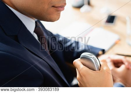 Cropped View Of Journalist With Dictaphone Interviewing Indian Politician During Press Conference On
