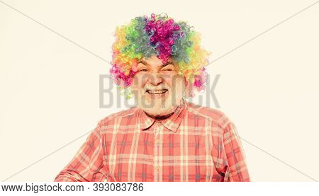 Funny Lifestyle. Fun And Entertainment. Comic Happy Grandfather Concept. Circus Show. Elderly Clown.