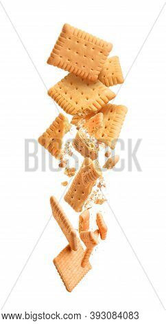 Cookies Are Broken Into Pieces With Falling Crumbs Down