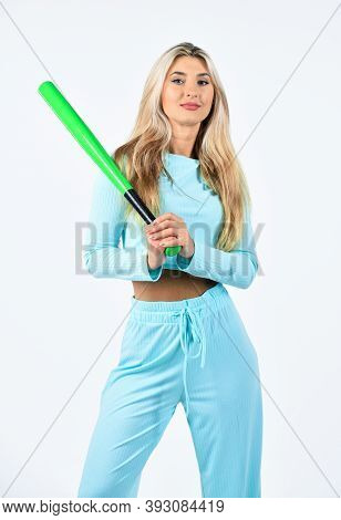 Confident And Strong Lady. Outdoor Sport Activity. Woman Play Baseball Game. Girl Hold Baseball Bat