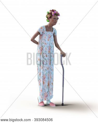 An Eccentric Senior Woman, Wearing A Nightgown And Hair Curlers, With A Walking Cane And A Cigarette