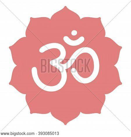 Om Sign. Vector Sacral Icon. Meditation Line Symbol. Yoga. Color Illustration