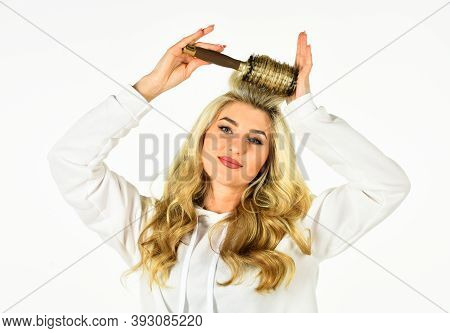 Our Strength Is Your Beauty. Using Curling Hairbrush. Stylist Curling For Woman. Curls Hairstyle. Gi