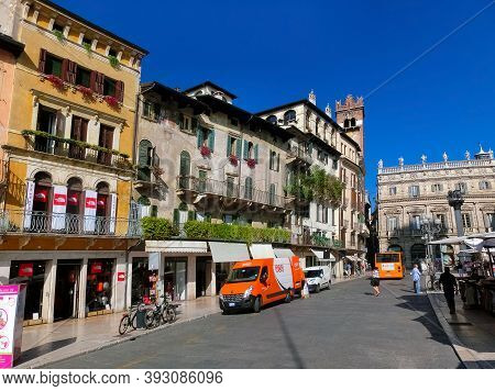 Verona, Italy - September 22, 2014: One Of Streets Of The Verona Center Which Is A World Heritage Si