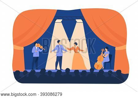 Opera Singers Playing On Stage With Musicians. Theatre Performers Wearing Costumes, Standing Under S