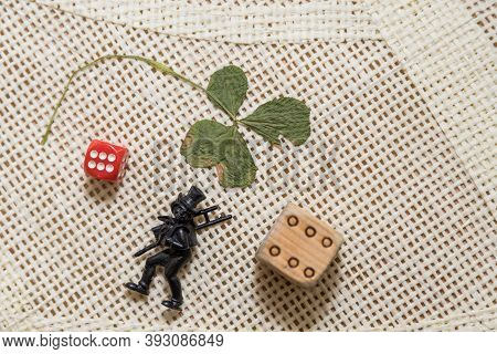 Several Lucky Charms For The New Year - Lucky Clover, Lucky Number And Chimney Sweep