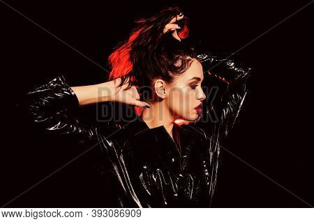 Passionate Lady. Impeccable Appearance. Mysterious Passionate Fashion Model In Leather Cloak. Femini