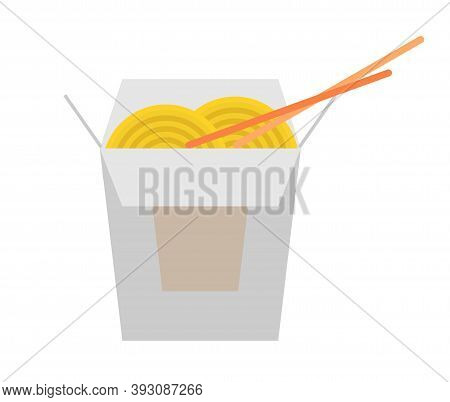 Box Of Noodles With Chopsticks Vector Icon Illustration. Oriental Noodle Food. Asian Noodles Icon