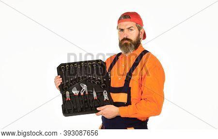 Mechanic Tool Box. Man In Uniform Carries Toolbox White Background. Worker Repairer Repairman Handym