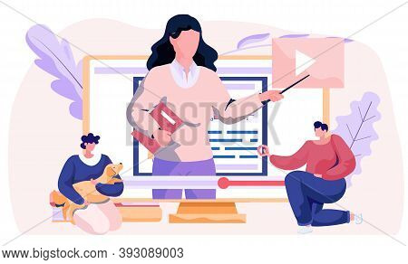 Woman Training A Dog Basic Commands With Video Tutorial On The Computer Vector Illustration. Blog Ab