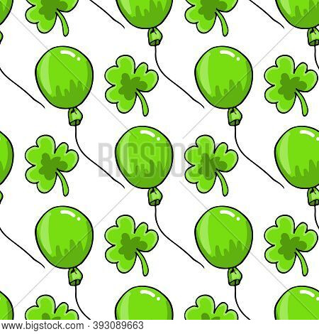 St. Patricks Day Flat Seamless Pattern Background With Clover Shamrock Leaves And Green Baloons, Gif