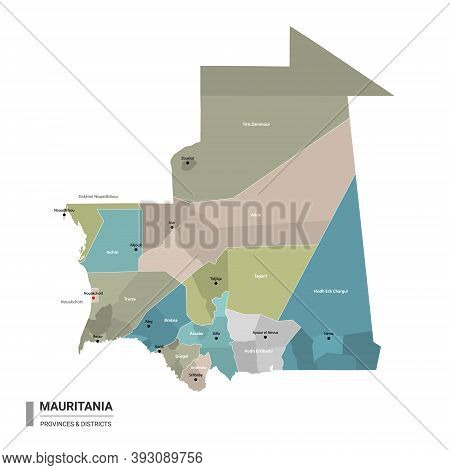 Mauritania Higt Detailed Map With Subdivisions. Administrative Map Of Mauritania With Districts And