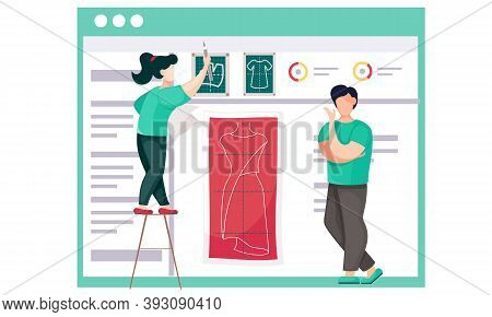 The Girl Explains The Plan For Sewing Clothes To The Man. Female Professional Drawing A Sketch Of Th