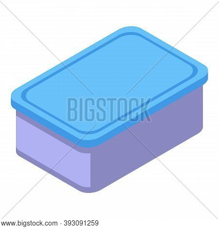 Lunch Plastic Box Icon. Isometric Of Lunch Plastic Box Vector Icon For Web Design Isolated On White