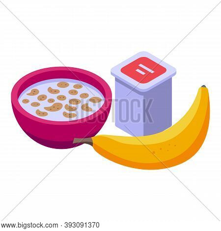 Milk Muesli Banana Lunch Icon. Isometric Of Milk Muesli Banana Lunch Vector Icon For Web Design Isol