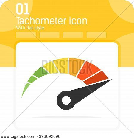 Color Vector Tachometer Premiun Icon With Flat Style Style Isolated On White Background. Flat Vector