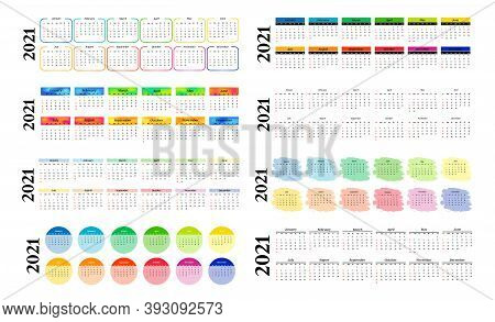 Set Of Eight Horizontal Calendars For 2021 Isolated On A White Background. Sunday To Monday, Busines