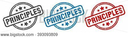 Principles Stamp. Principles Round Isolated Sign. Principles Label Set