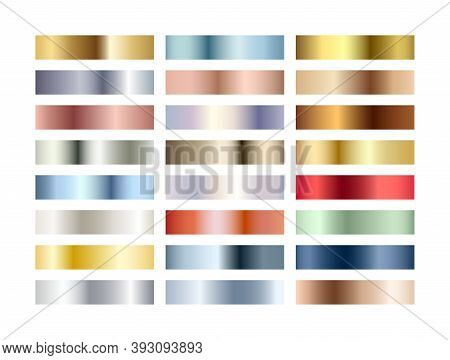 Metal Chrome Gradients Set. Metallic Rose Gold, Bronze, Silver, Elegant Red, Deep Blue, Pistachio Gr