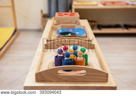 Montessori wood material for the learning of children at children school