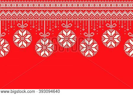 Winter Holiday Pixel Pattern. Garland Of Christmas Tree Balls Ornament. Christmas And New Year Vecto