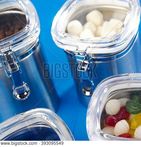Metal Containers With Hermetic Lids To Store And Preserve Food.