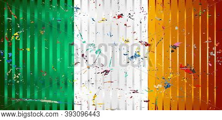 Ireland Flag With Color Stains - Illustration,  Three Dimensional Flag Of Ireland