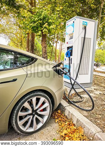 Varna, Bulgaria - Aug 15, 2020: Tesla Super Charging Station .tesla Supercharger Stations Allow Tesl