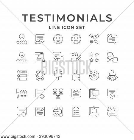 Set Line Icons Of Testimonials Isolated On White. Award Badge, Feedback, Comment, Customer Review, S