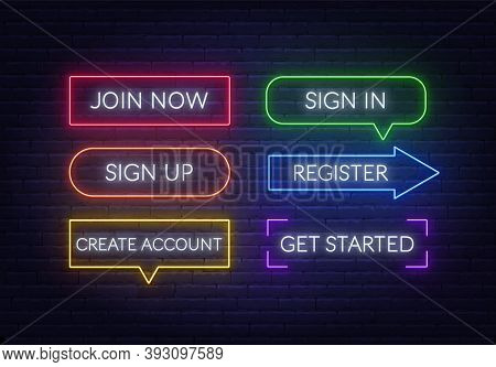 Join Now, Sign In, Sign Up, Register, Create Account, Get Started Neon Sign On A Brick Background. M
