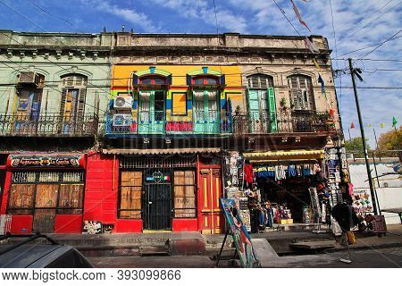 Buenos Aires, Argentina - 02 May 2016: The Building In La Boca District Of Buenos Aires, Argentina