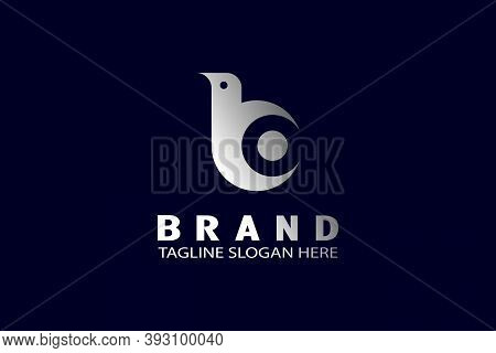 Elegant Bird B Logo, Can Also Be Used For Bc Or Bo Letter Logo, With Flying Bird Shapes, Modern Crea