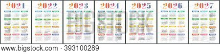 Calendar 2021, 2022, 2023, 2024, 2025, 2026 And 2027. English Colorful Vector Set. Vertical Wall Or