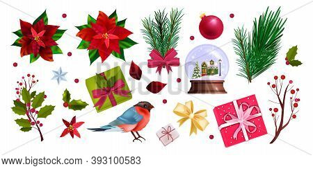 Winter Christmas Illustration Set With Poinsettia, Fir Branch, Presents, Snow Ball, Bullfinch.holida