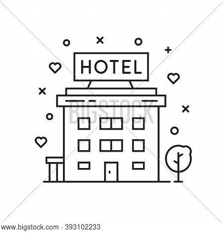 Black Thin Line Hotel Simple Icon. Flat Stroke Style Motel Or Hostel Logo Graphic Minimal Art Design