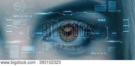 Retina Scan Of Female Eye, Collage With Futuristic Data On Virtual Screen, Panorama. User Biometrica