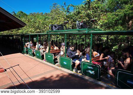 Iguazu, Argentina - 05 May 2016: The Train To Iguazu Falls In Argentina And Brazil