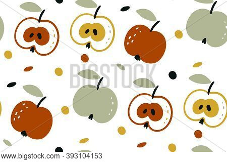Vector Seamless Pattern With Apples Isolated On White Background. Autumn Harvest. Fruit Background.