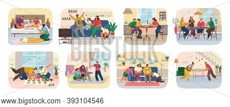 Set Of Funny Smiling People Sitting At Table Or Sofa And Playing Board Or Tabletop Games. Home Leisu