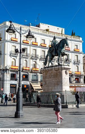 Madrid, Spain - October 11, 2020: The Statue Of King Charles Iii In Puerta Del Sol Square In Central