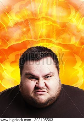 Angry Fat Guy Having His Mind Explode From Fatigue Or Work Overload, Collage. Overweight Man Experie