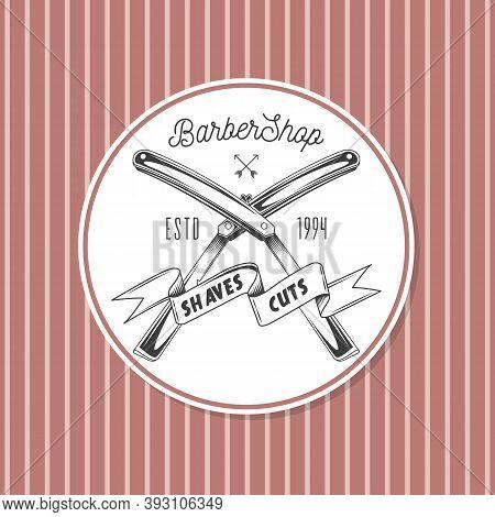 Dangerous Razor For Shaving, Hairdressing Supplies, Lettering Barber Shop, Inscription On Tape Shave